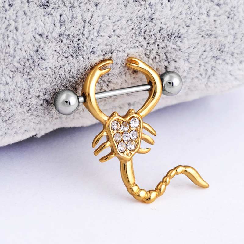 1 Pair Scorpion Shape Straight Barbell Crystal Nipple Ring 16g NippleRings