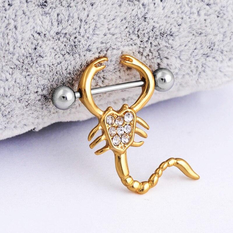 2020 new arrivels 2pc Stainless Steel silver Scorpions Love Nipple Ring Shield Rings Body Piercing Jewelry Barbell Rings Women