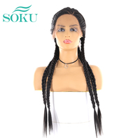 Long Braided Synthetic Lace Front Wigs For Black Women SOKU Natural Black Color Lace Front Braided Wig L Part Trendy Lace Wig