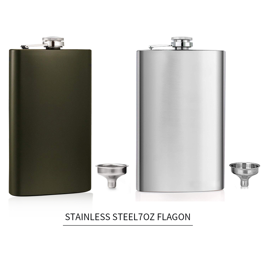 Stainless Steel Hip Flask 8 oz Portable Liquor Whisky Alcohol Cap Funnel Drinkware Bottle D25