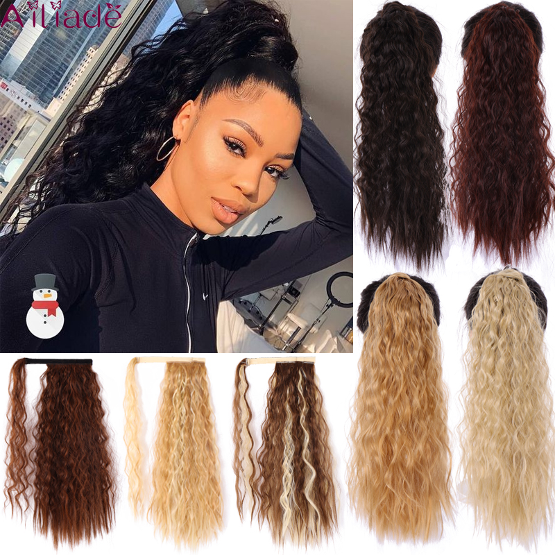 AILIADE Curly Ponytail Natural Wrap On Clip Hair Extensions For Women False Hair Horse High Temperature Synthetic Hair Piece