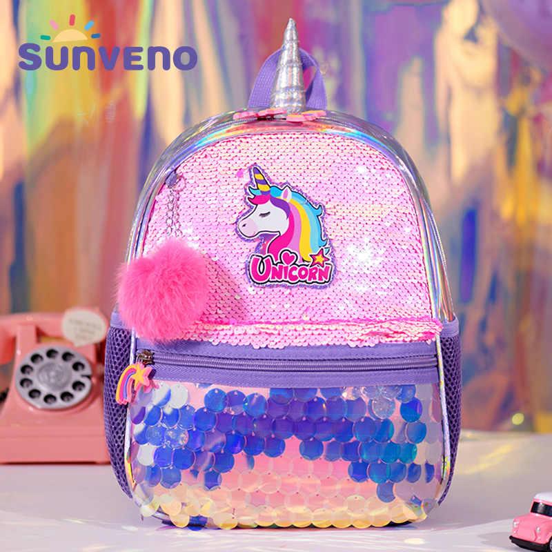 Sunveno dwustronna torba z cekinami plecak jednorożec dziewczęce torby szkolne plecak do przedszkola najlepszy prezent dla dziewczynek