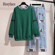 2XL-6XL Large size Women 2 Pieces Sets Autumn Winter Loose Jeans+Tops