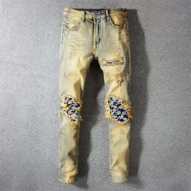 cheap jeans men Multi Zip Sticker Broken Hole Retro jeans men trousers male denim pants motorcycle fashion designer in Jeans from Men 39 s Clothing