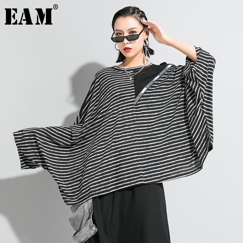 [EAM] Women Black Striped Split Big Size T-shirt New Round Neck Long Batwing Sleeve  Fashion Tide  Spring Autumn 2020 1R642