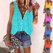 2021 Summer Women Button Casual Loose Print Sleeveless Shirt Ladies V Neck Plus Size Vest XS-5XL