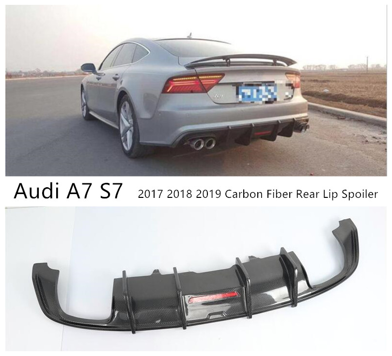For <font><b>Audi</b></font> <font><b>A7</b></font> S7 2017 2018 2019 Carbon Fiber <font><b>Rear</b></font> Lip Spoiler High Quality Bumper <font><b>Diffuser</b></font> Car Accessories image