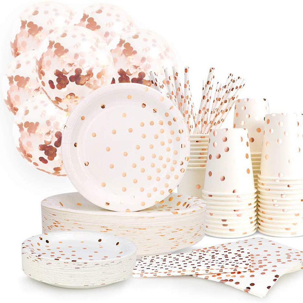 Outdoor Rose Gold Paper Wedding Party Supplies Set Disposable Paper Plate Cutlery Set Rose Gold Dot Stamping Plate Party Supply