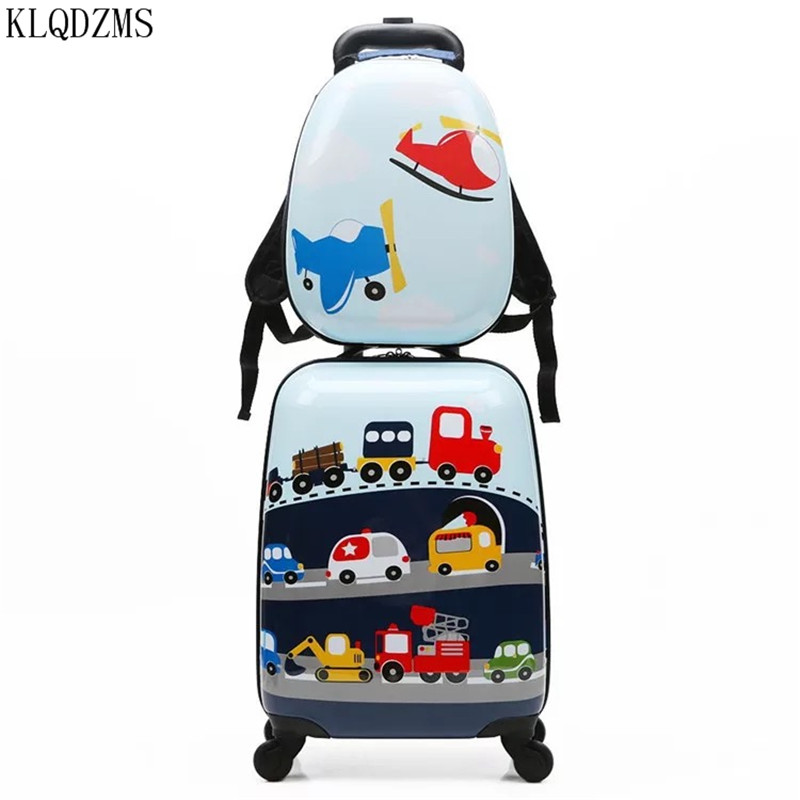 KLQDZMS Cute Cartoon Children Rolling Luggage Sets Spinner 18 Inch Carry Ons Backpack Girl Boys Suitcase Wheels
