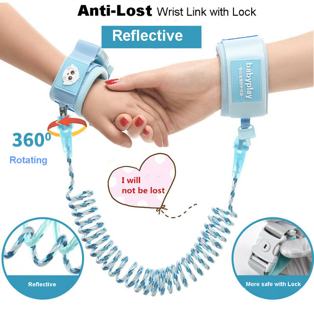 1.5-2.5m Children Leash Anti-lost Wrist Link Traction Rope Kids Safety Harness Adjustable Baby Walker Wristband
