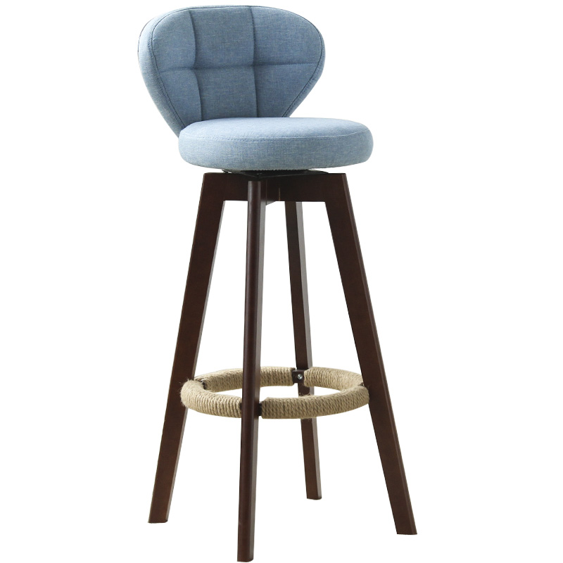 Solid Wood Beech Bar Chair Retro Color Hemp Rope Rotating Bar Stool Bar Stool Bar Chair Front Stool High Chair