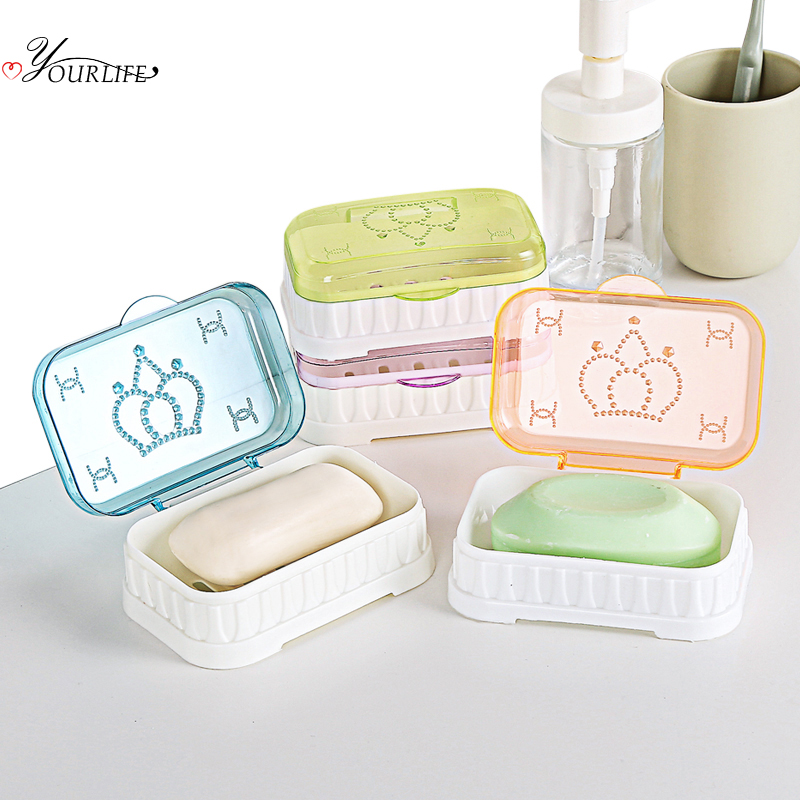 OYOURLIFE European Style Transparent Soap Box Bathroom Drain Soap Case  With Cover Portable Travel Soap Protect Container