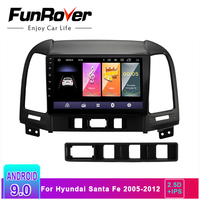 Funrover 2 din 2.5D+IPS Android 9.0 Car Radio Multimedia video player gps navigation For Hyundai Santa Fe 2005 2012 gps stereo