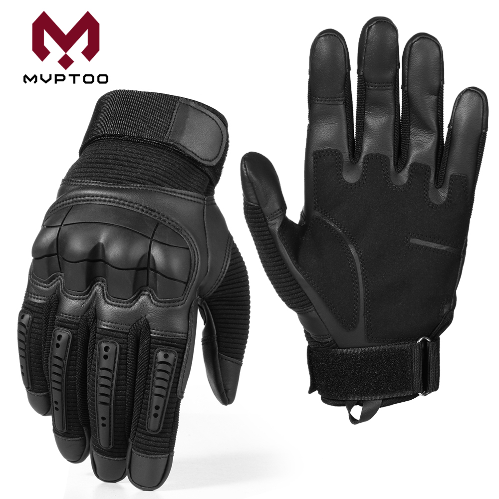 Image 3 - Touch Screen PU Leather Motorcycle Gloves Motorbike Motocross  Moto Cycling Hard Knuckle Protective Gear Full Finger Glove MenGloves    -