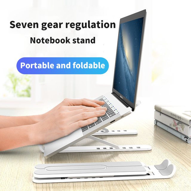 Portable Laptop Stand Foldable Support Base Notebook Stand For Macbook Pro Lapdesk PC Computer Laptop Holder Cooling Pad Riser Work From Home Accessories cb5feb1b7314637725a2e7: Black Pink White