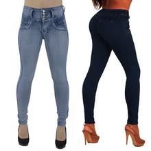 Dżinsy damskie dżinsy dla mamy dżinsy o średniej talii kobieta wysokie elastyczne Plus Size jeansy ze streczem kobiece sprane dżinsy smukłe spodnie ołówkowe tanie tanio WHooHoo COTTON Poliester Pełnej długości Boot Cut Pant Jeans Na co dzień Zmiękczania Wysoka Zipper fly Przycisk Kieszenie