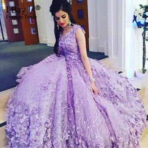Violet col en V perle fleur formelle robes de soirée 2020 Sexy dentelle robes de bal longues robes Elegantes