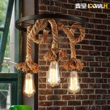American Village Loft Hemp Rope Chandelier For Dining Living Room Bar Hanging Light Lamp E27 hanging lamp