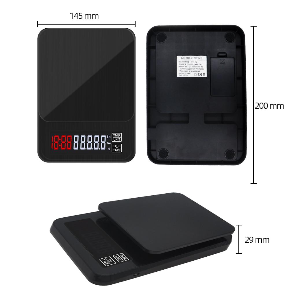 ЖК-дисплей электронный капельный Кофе цифровой шкалой Кухня весы с таймером Вес бытовые весы таймер Вес баланс кг/3 кг/5 кг/10 кг 0,1 г-3