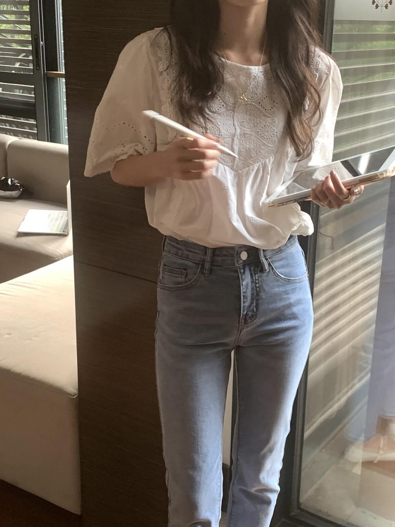 H781676e0d1194cfbac07157a7b38defcU - Summer O-Neck Short Sleeves Cotton Hollow Out Blouse