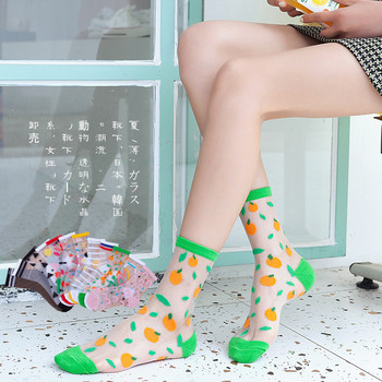 Spring and summer new women Short socks personality printing fruit series card silk female socks women transparent socks spring and summer flamingo and fox series woman cotton lovely socks painting lady female boat socks short ankle women socks