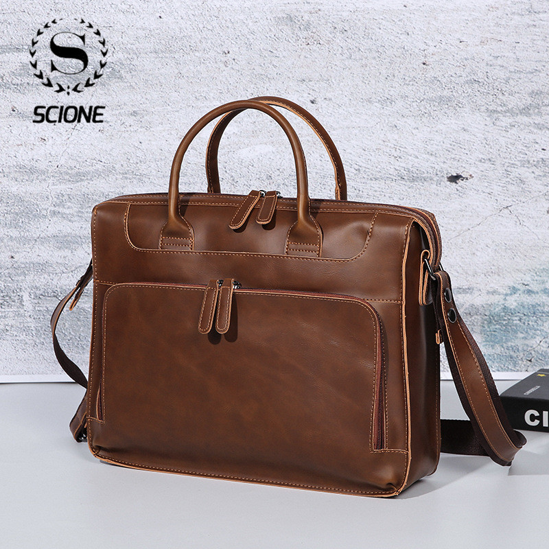 Scione Men's Leather Computer Bag Business Leather Laptop Bag Men Briefcase Bag Travel Vintag Leather Messenger Bag For Men