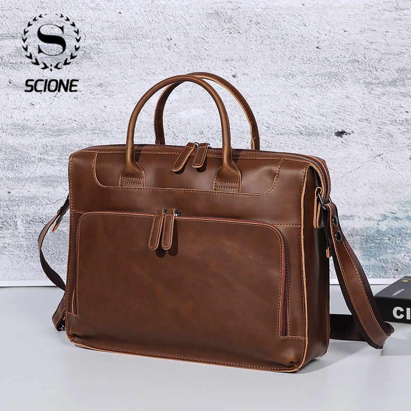 Scione الرجال الجلود حقيبة حاسوب الأعمال الجلود حقيبة لابتوب الرجال حقيبة حقيبة السفر Vintag الجلود حقيبة ساعي للرجال