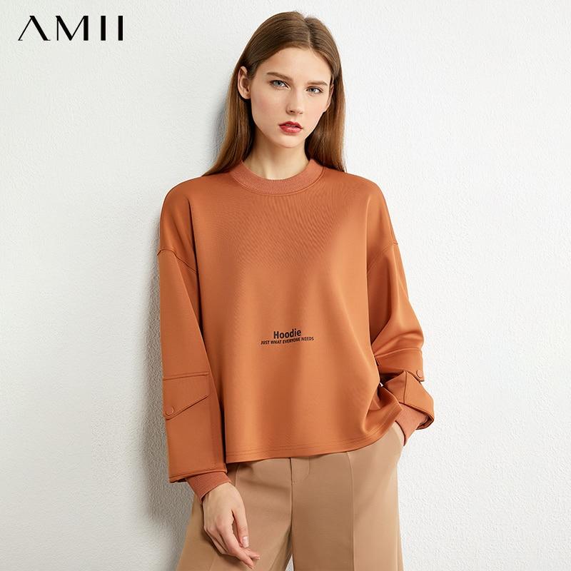 AMII Minimalism Autumn Fashion Boyfriend Style Letter Women Hoodies Causal Oneck Loose Female Pullover Tops 12030243 1