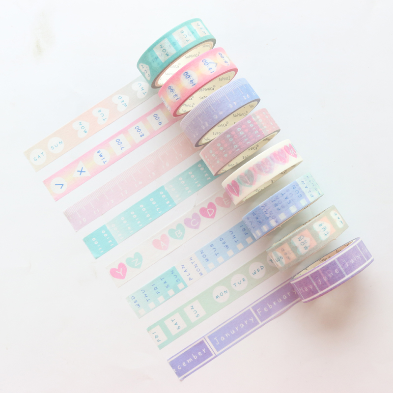 Domikee Cute Kawaii Colored School Student Time Agenda Washi Paper Masking Tapes For Diary Planner Stationery Supplies 15mm*5m