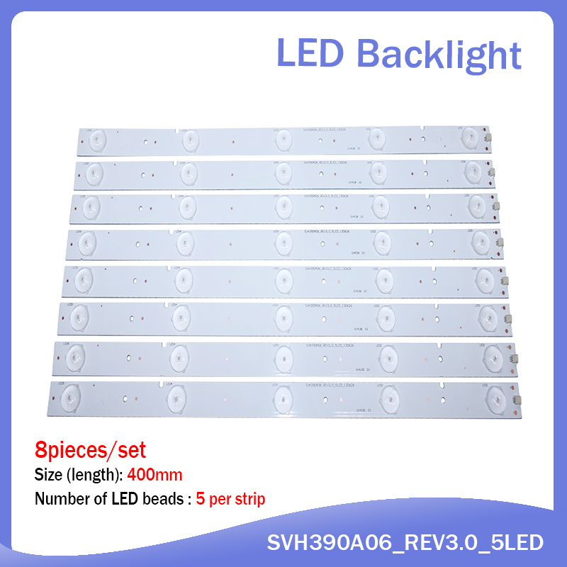 100%NEW 8Pieces/lot 5LEDS 400mm LED Strip For SVH390A06 NS-40D420NA16 Samsung 2013CHI400 3328N1 05