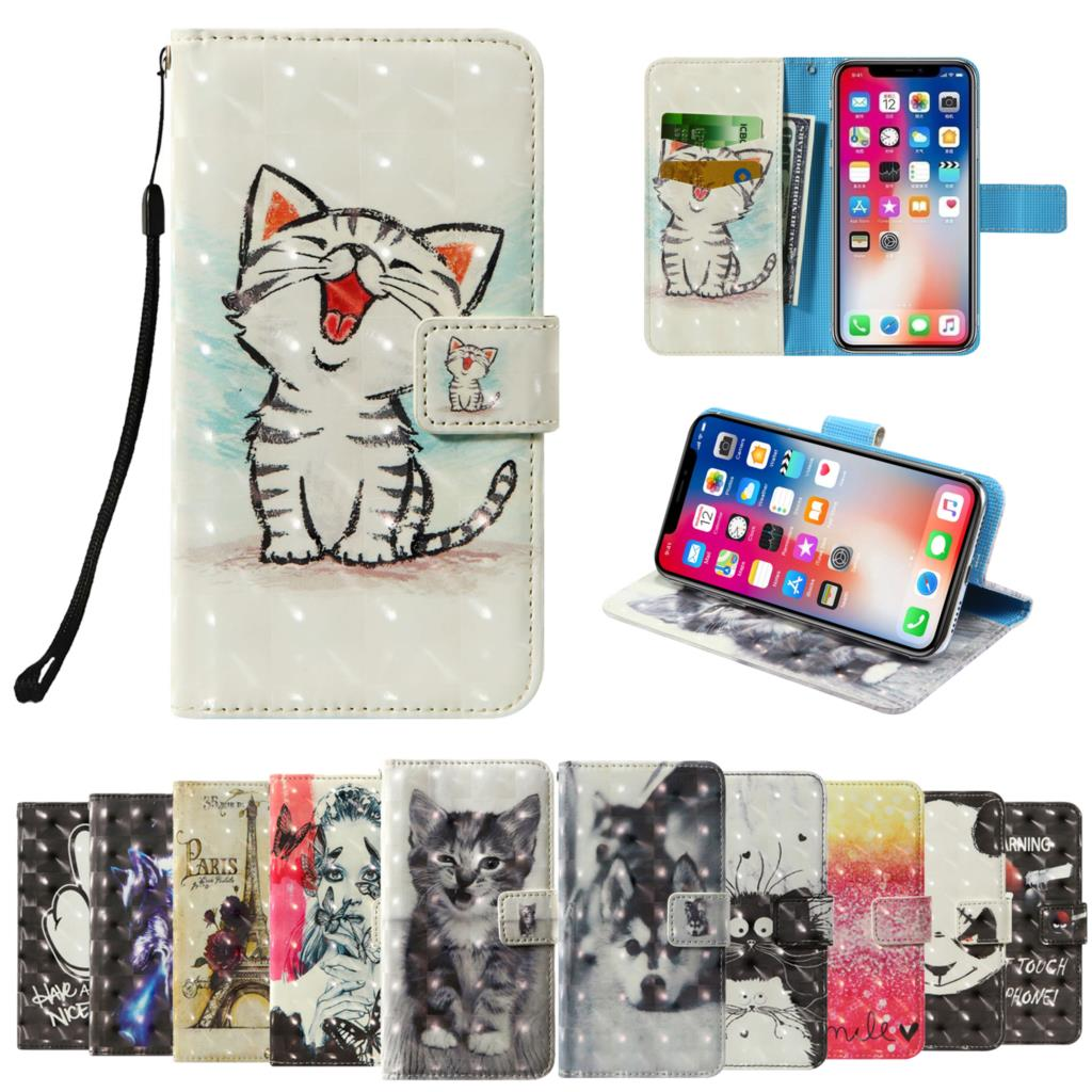 3D flip wallet Leather case For Blackview A80 Pro BLU C5 J2 J4 J6 Plus BQ 5731L Magic S 5732L Aurora SE Phone Case image
