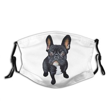 French Bulldog Dog Lover Reusable Face Mask Pattern Anti Haze Dust Mask Protection Cover Respirator Mouth Muffle with Filters