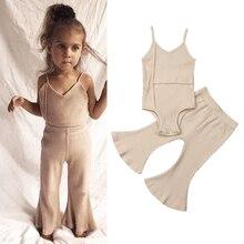 Bodysuit Pants Newborn Baby-Girls Summer Romper Outfits Kid Cute Cotton Sleeveless Long-Bell