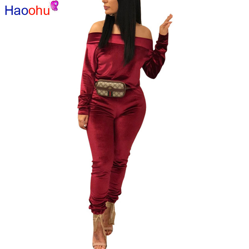 HAOOHU Velvet Women's Set Autumn/winter Fashion Sexy Women Casual Two Pieces Suits Casual Nightclub Party Tracksuit