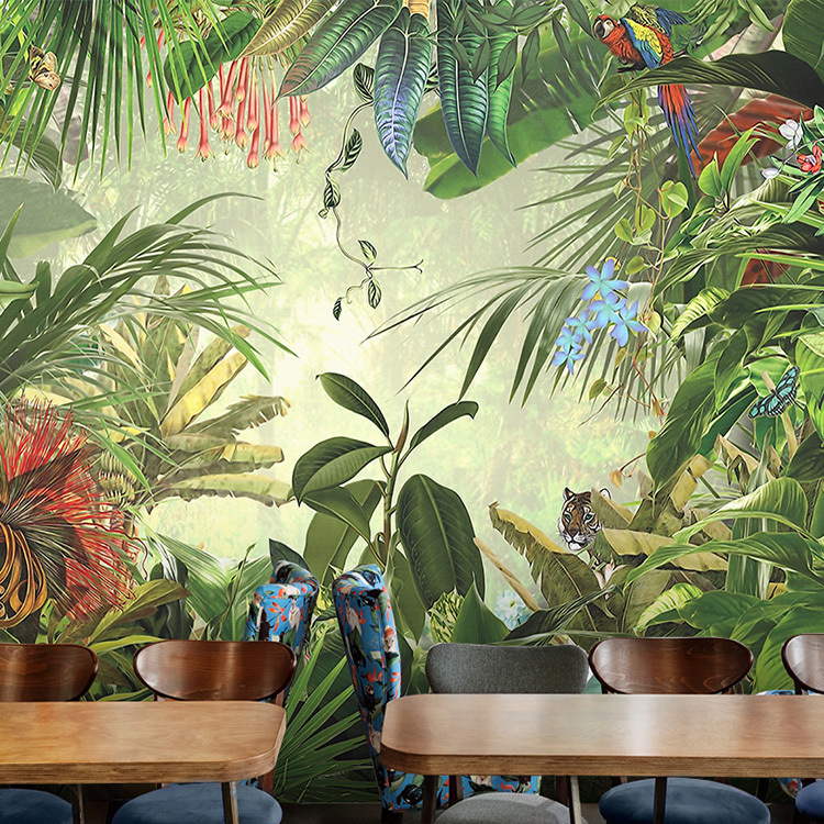 Southeast Asia Style Hand-Painted Torrid Zone Rainforest Wallpaper Restaurant Living Room Television Background Wall Wallpaper S