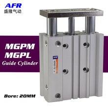 Воздушный цилиндр mgpm20 50z 75z тонкий с стержнем три оси бар