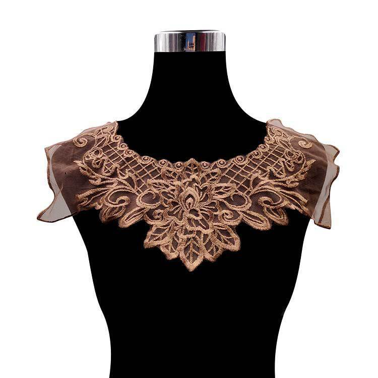 Luxury Coffee Organza Embroidered Lace Material Fabirc Dress Guipure Collar Trim Applique Sewing Trimmings And Embellishments
