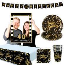 HUIRAN-globos de látex para decoración de fiestas, globos de 30, 40 y 50 años de cumpleaños, 30 años de edad, color dorado y negro