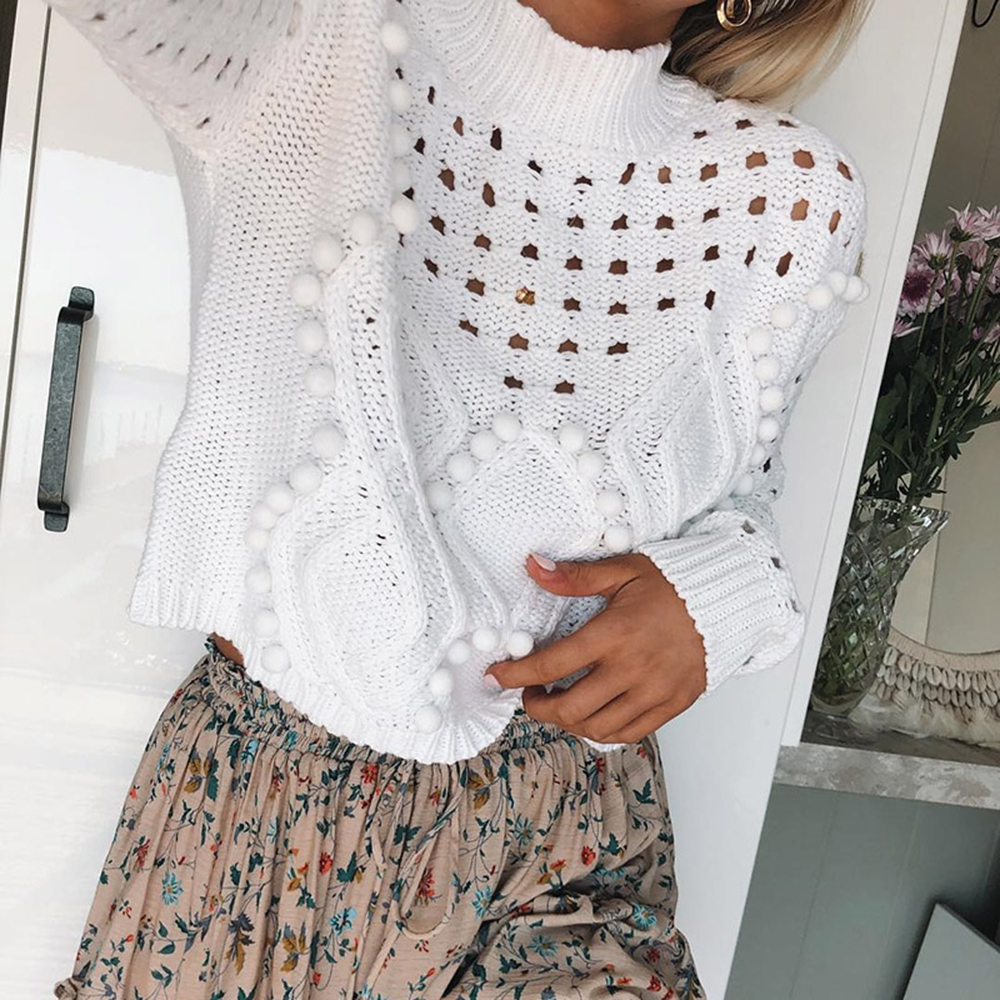 2019 New Women Fashion Sweater Sexy Hollow out White Black Pullovers Autumn Women Streetwear O neck Loose Knitted Jumpers