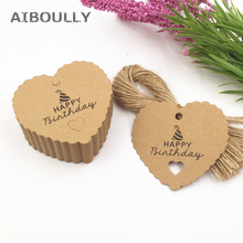 лучшая цена 100pcs/pack Kraft Paper Tags sign HAPPY BIRTHDAY Brown Lace Heart Shaped Favor Lolly Heart Hollow Label Luggage party gifts tags