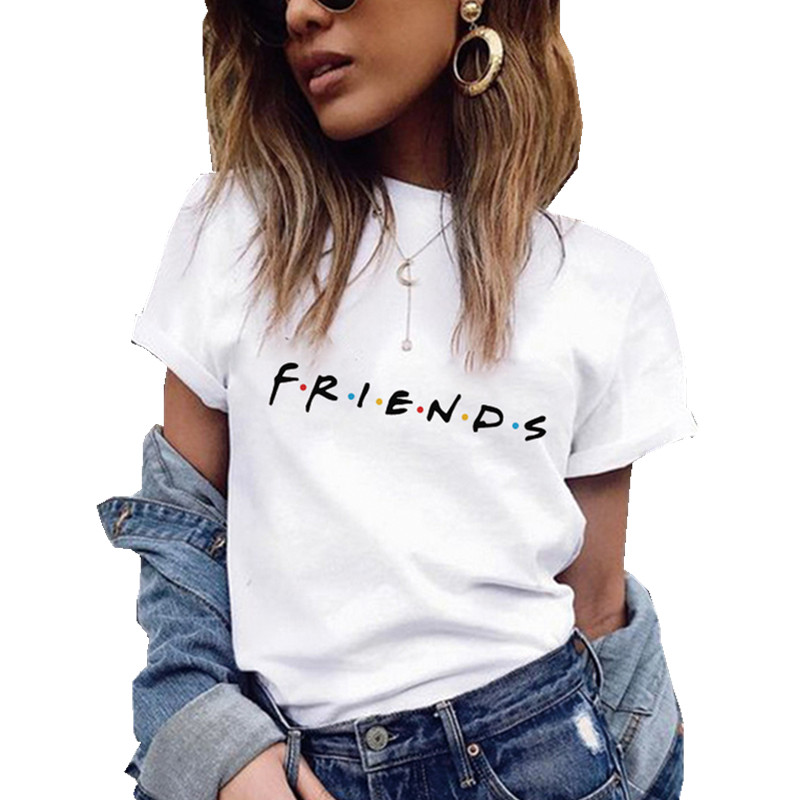 Friends Letter Printing Women T Shirt Summer Casual Harajuku T Shirt For Lady Girl Top Tee Female Short Sleeve Leisure Clothes