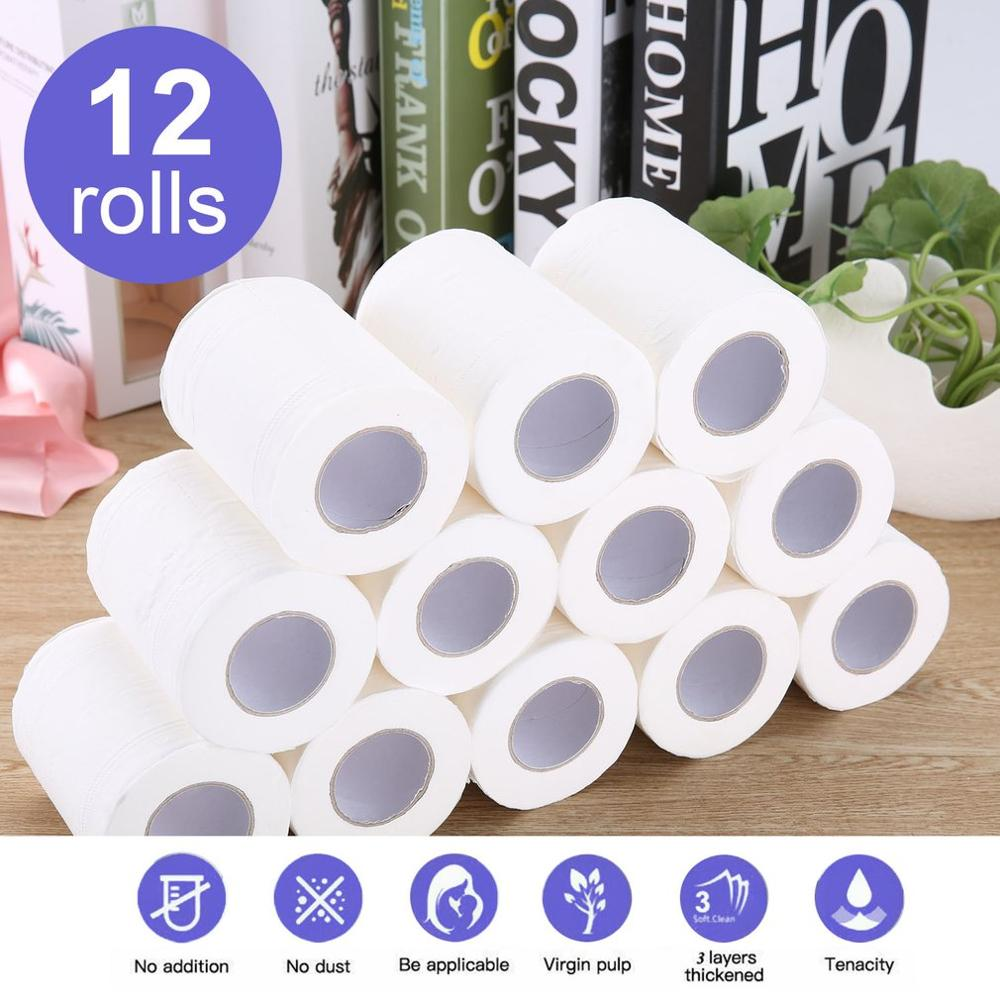 HOT SALE 12 Rolls Portable High Quality Toilet Paper For Office Natural Paper Towels For Family Restaurant Paper Towel Hot Sell
