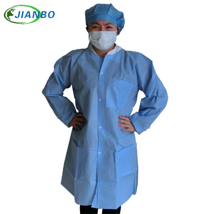 Disposable Lab Coat Laboratory Thicker SMS Nonwoven Fabric Working Coveralls Clean Room Blue Dustproof Protective Work Clothes