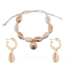 Hot Fashion Sea Shell Wanita Anting-Anting + Gelang Set Emas Warna Trendy Pernyataan DROP Menjuntai Anting-Anting untuk Wanita Pantai Perhiasan set(China)