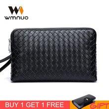 Wmnuo Brand Men Clutch Wallets Pures Men Handbags Genuine Leather Sheepskin Hand Woven Fashion Business Envelope Bag Phone Bag недорого