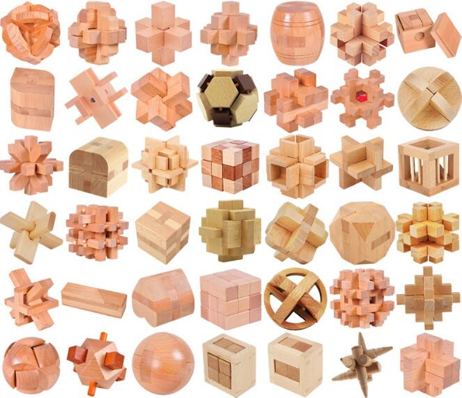 IQ Wooden Puzzle Brain Teasers Burr Interlocking Traditional Puzzles Game For Adults Children