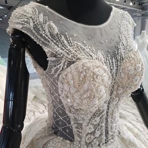Image 5 - HTL1002 роскошное свадебное платье бохо Иллюзия o образным вырезом без рукавов Кнопка назад аппликации невеста, свадебное платье новый дизайн robe de mariage