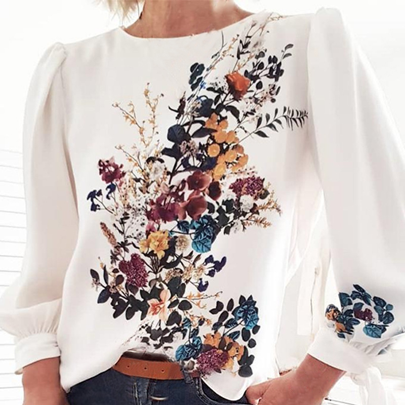 Adisputent 2020 Women Printed Pullovers T-shirts Long Sleeve O-neck Loose Style Chic Casual Spring Trends Shirt Vintage Blusas