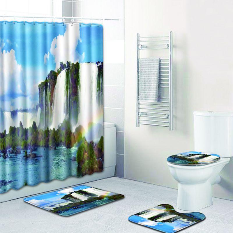 Paysage impression rideau de douche imperméable à l'eau écran de bain imperméable Polyester siège de toilette couverture Pad tapis de bain décoration de la maison