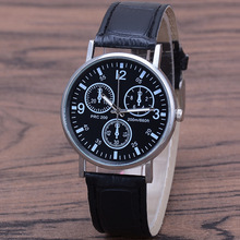 цена Fashion & Sports Three-Eyed Leather Belt Watches Men Quartz Neutral Male Watch Minimalist Watch онлайн в 2017 году